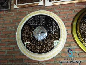 Jam Hias Dinding Kaligrafi Ukiran Jati